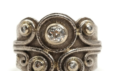 NOT SOLD. Diamond ring set with numerous old-cut diamonds totalling app. 0.34 ct., mounted in...