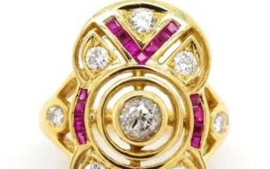 Diamond, ruby and 18ct yellow gold ring with anArt Deco desi...