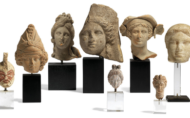 EIGHT GREEK TERRACOTTA AND MARBLE HEADS, CLASSICAL PERIOD-HELLENISTIC PERIOD, CIRCA 5TH-2ND CENTURY B.C.