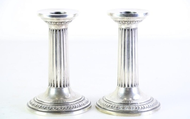 Early c.20th German 800 silver pair of corinthian column candlesticks by E.Eckert, inscribe to the base 'Dresden 15 März 1902""