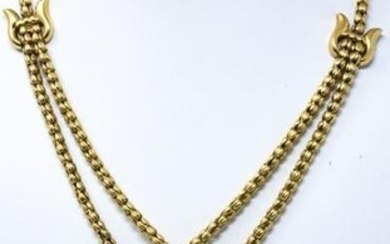 Estate 18kt Yellow Gold Lariat Form Necklace