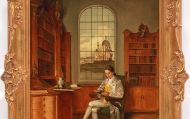 """FRANZ XAVER WOLF (AUSTRIA, 1896-90), OIL ON WOOD PANEL, H 20"""", W 15"""", YOUNG MAN READING"""