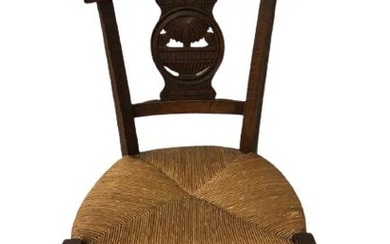 FRENCH ANTIQUE WICKER & WOOD SIDE CHAIR