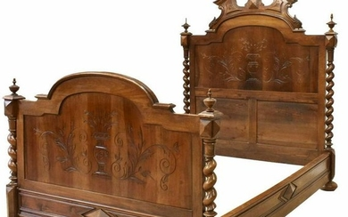 FRENCH HENRI II STYLE CARVED WALNUT BED