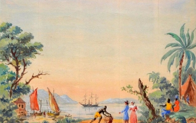 FRENCH SCHOOL, ISLAND TRADERS WEST INDIES, 19TH CENTURY WALLPAPER DESIGN, GOUACHE ON PAPER, 17 X 25CM