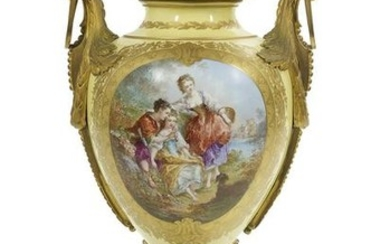 French Bronze-Mounted Sevres-Style Urn