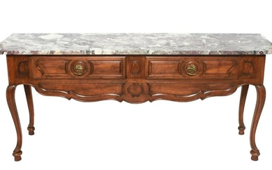 French Provincial Style Marble Top Console Table
