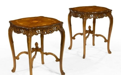French Style Walnut End Tables and Coffee Table