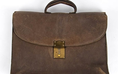 GUCCI LEATHER BRIEFCASE Late 70s Brown leather briefcase General Conditions...