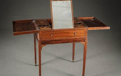 George III Style Satinwood Inlaid Mahogany Beau Brummel on Stand Last Quarter 19th Century