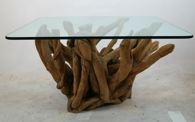 Glass-Top Driftwood Base Coffee Table