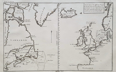 H.L. Duhamel du Monceauand Jean-Louis De La Marre: Map of the North Atlantic. 1772. Copper engraving. 20×32 cm. Unframed.
