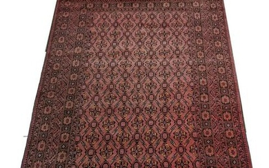 Hand-Knotted Tribal Wool Area Rug. Main field populated
