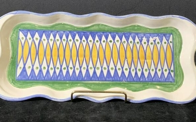 Hand Painted Glazed Ceramic Serving Tray