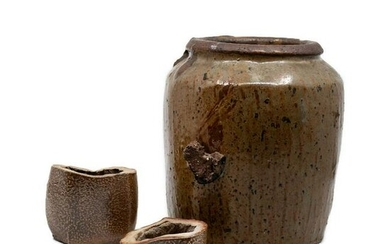 Hand Thrown Earthenware Art Pottery Bowl and Jar