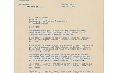 Harry S. Truman Typed Letter Signed