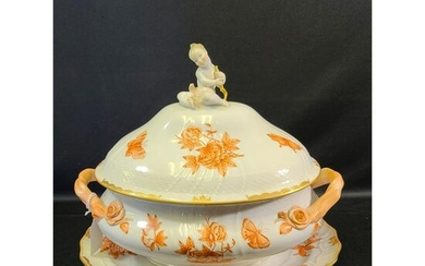 Herend Fortuna Rust Soup Tureen + Underplate VBOH