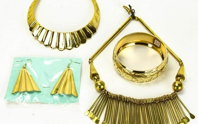 Indian Etched Gilt Brass Jewelry Suite