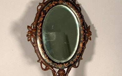 Italian Inlaid and Carved Wood Hand Mirror, 19thc.