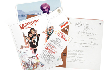 James Bond: a screenplay script for Octopussy signed by Roger Moore,