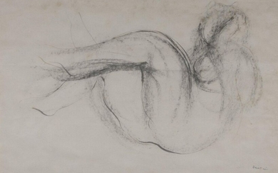Jean FAUTRIER (Paris, 1898 - Châtenay-Malabry, 1964) Female nude Ink signed lower right. Laminated on a cardboard. Height. 21 Width. 32 cm. Female nude, ink signed by Jean Fautrier.