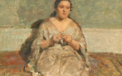 Julius Paulsen: Portrait of a knitting woman. Signed and dated Jul. Paulsen 20. Oil on canvas. 66×50 cm.