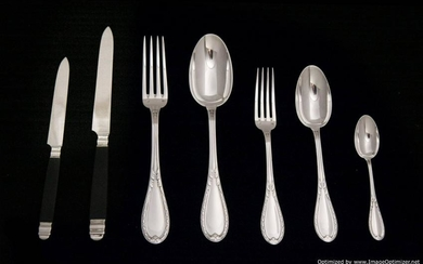 LAPPARA FRENCH ANTIQUE STERLING SILVER FLATWARE SET,