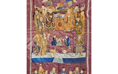 LARGE SILK EMBROIDERED WALL HANGING QING DYNASTY, 19TH