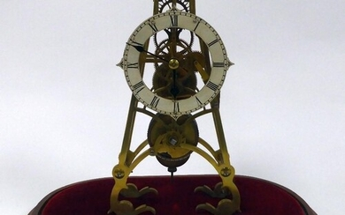 LATE VICTORIAN BRASS SKELETON CLOCK UNDER GLASS DOME, the 4 ...