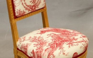 LOUIS XVI, UPHOLSTERED, CARVED GILTWOOD SIDE CHAIR