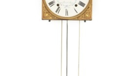 """""""La Comtoise"""". A French 19th century brass wall clock, enameled dial. Signed """"au Port Ste Marie"""". H. 42. W. 27. D. 16 cm."""