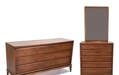 Lane Furniture Co. Teak Five Drawer Chest and a Six