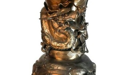 Large Chinese Bronze Relief Vase