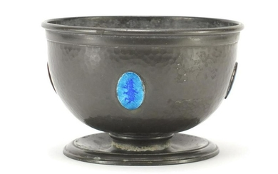 Liberty & Co Tudric pewter bowl with blue enamel