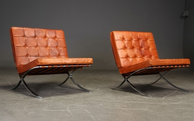 Ludwig Mies van der Rohe for Knoll International. A pair of lounge chairs, Model 'Barcelona' (2)