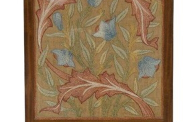 Morris & Co (1875-1940), a mahogany, linen and silk embroidered...