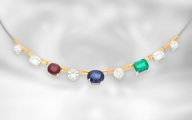 Necklace: extremely high quality gemstone necklace 'Transformation' with...