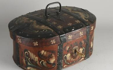 Old hand-painted chipboard box with lid and iron