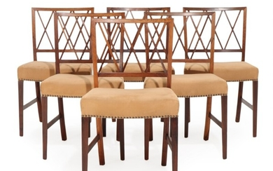 Ole Wanscher: A set of six Brazilian rosewood side chairs. Seats upholstered with brown alcantara. Manufactured by A. J. Iversen. (6)