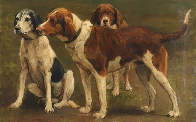 Otto Bache: Three eager hunting dogs. Signed Otto Bache. Oil on canvas. 47.5×65 cm.