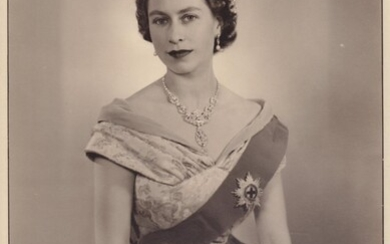 Oversize signed photograph from the year of her coronation