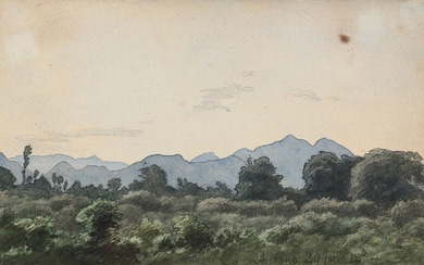 P. C. Skovgaard: Italian landscape. Unsigned, dated Milano 1854. Watercolour on paper. Sheet size 10.5×17 cm.