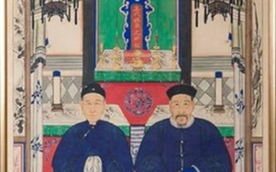 "Painting ""Tapestry of Ancestors"", China, c. 1850. Qing Dynasty. ""Gouache"" on rice paper with wooden frame. With representation of a couple of dignitaries in palatial architecture. Measurements: 180x88 cm. Exit: 400uros. (66.554 Ptas.)"