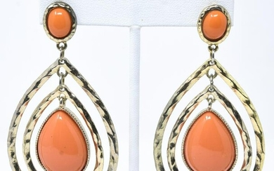 Pair Costume Dangle Earrings Rhinestone Faux Coral