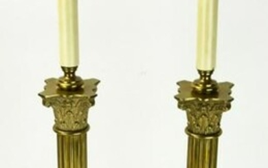Pair Gilded Brass & Bronze Column Form Lamps