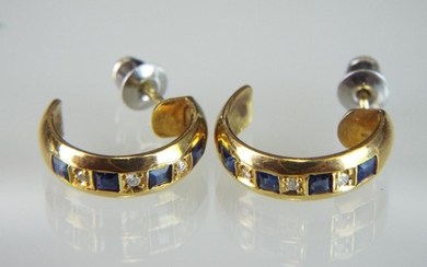 Pair of 18ct earrings set with Diamonds and Sapphires.