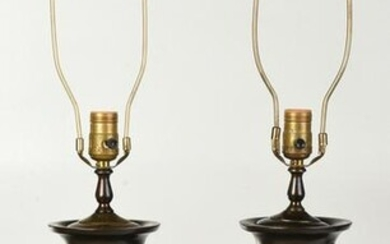 Pair of Asian Patinated Bronze Urn Form Lamps