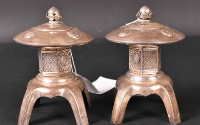 Pair of Chinese Export Silver Salt&Pepper Shakers