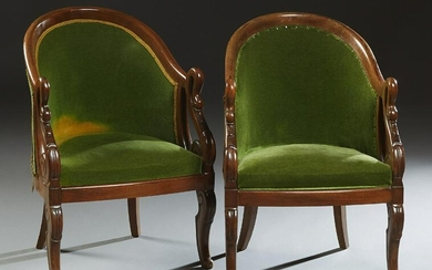 Pair of Louis Philippe Empire Style Carved Beech
