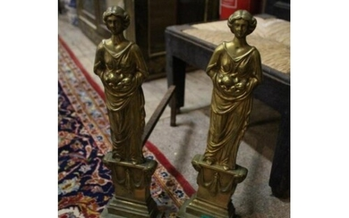Pair of Victorian Brass and Iron Andirons